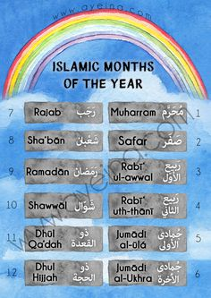 Islamic months free printable for kids to learn about the 12 months in the Hijri Calendar (in Arabic & English both). Watercolor rainbow and sky background.