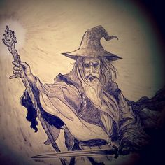 Gandalf drawing for a symphony performance in Canada