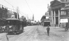 Tram travelling on Darling Street., Balmain,Sydney. circa 1908. v@e
