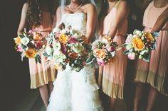 neutral wedding. vintage wedding. Peach. blue. pink.