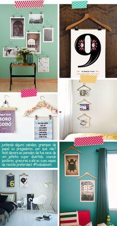 Cabides e posteres para decorar a parede sem precisar de molduras