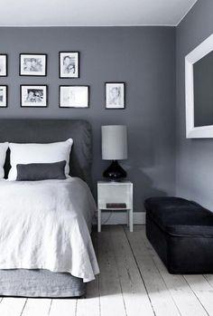 Grijs is een prachtige neutrale kleur voor in de slaapkamer. Op Woonblog vind je meer inspiratie voor de grijze slaapkamer! Je vindt een link naar de website in de bron!