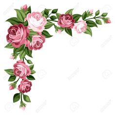Illustration of Pink vintage roses, rosebuds and leaves illustration vector art, clipart and stock vectors. Vintage Flowers, Vintage Pink, Pink Flowers, Pink Roses, Flower Frame, Flower Art, Art Flowers, Flower Border Clipart, Flower Borders