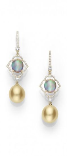 Mikimoto Prestige Color Earrings | 11mm Golden South Sea cultured pearl with .84ct diamonds and 8.81ct Opal set in platinum.