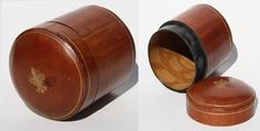 Vintage Italian Wooden Leather Box Round Oval Brown 10cm High Jewelery Case Wood