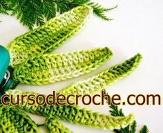 CROCHÊ FOLHAS 004 Crochet leaf, folhas