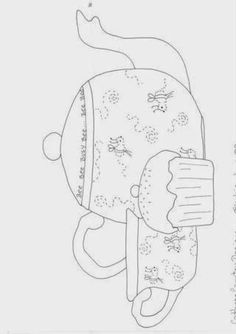 Paper Embroidery Patterns tea pot, tea cup and cupcake appliqué pattern Applique Templates, Applique Patterns, Applique Quilts, Applique Designs, Quilt Patterns, Embroidery Designs, Paper Embroidery, Embroidery Applique, Cross Stitch Embroidery