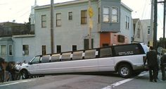 I wonder if the driver of this limo still had a job after this mishap! I guess we've all had our bad days at work.