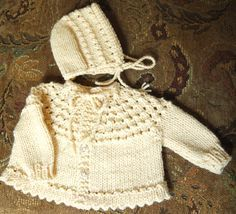 knitted 5 Hour baby sweater - separate hat or hood - your choice!