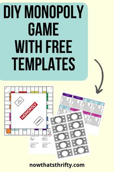 DIY Monopoly Game with Free Templates - Now That's Thrifty! you glad it's almost summer printable tag you glad it's summer printable you glad it's summer printable tags printables printables for preschoolers printables free Monopoly Party, Monopoly Game, Monopoly Board, Make Your Own Monopoly, Make Your Own Game, Create Your Own, How To Make, Money Template, Templates Printable Free