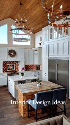 New Kitchen, Kitchen Decor, Kitchen Ideas, Kitchen With Brick, Kitchen With Vaulted Ceiling, Old Farmhouse Kitchen, Vaulted Ceiling Lighting, Kitchen Ceilings, Warm Kitchen