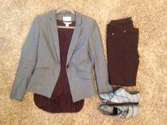 Fall Work: H&M Grey Blazer, Banana Republic maroon tee, Active brown jeggings, Tory Burch striped oxfords