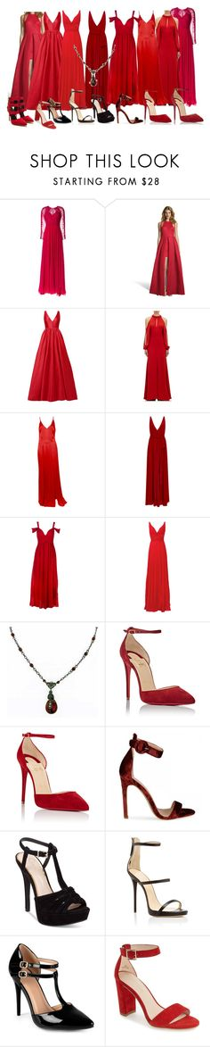 """Erika Mikaelson, The Red Women"" by grandmasfood ❤ liked on Polyvore featuring Zuhair Murad, Issue New York, ML Monique Lhuillier, J. Mendel, Paule Ka, Laundry by Shelli Segal, 1928, Christian Louboutin, Jessica Simpson and Giuseppe Zanotti"