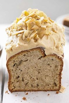 Peanut Butter Banana Loaf with Fluffy Peanut Butter Frosting and Banana Chips