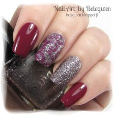 Nail Art by Belegwen: Essence Be Berry Now! and Perfect Sand Lacquer s68