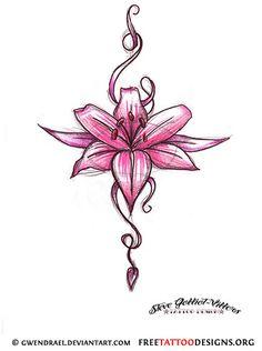 Flowers, stars and swirls tattoo design · pink flower tattoo drawing Pink Flower Tattoos, Flower Tattoo Drawings, Flower Tattoo Designs, Tattoo Designs For Women, Tattoo Sketches, Flower Designs, Tattoo Flowers, Love Tattoos, Picture Tattoos