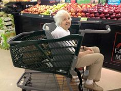 """Caroline's Cart - """"I asked my local Harris Teeter grocery store in Virginia if they had a shopping cart that I could put my 91 year old mother in. She likes to go with me to get her groceries but can no longer walk all the isles ... Turns out they had a Caroline's Cart and it worked perfect! Thank you!!"""" 1-800-351-CART"""