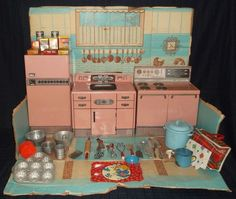 Vintage pink kitchen set WOLVERINE TIN stove refrigerator sink ORIGINAL BOX #Wolverine: