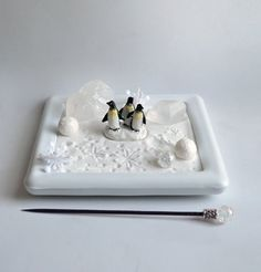 Mini Zen Garden   Free Shipping // Holiday Zen Gift // Penguins // Winter  Decor // Quartz Crystals Gemstone / DIY Kit / Christmas Decoration