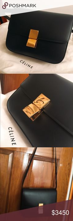 Celine black classic medium flap bag MEDIUM CLASSIC BAG IN BLACK BOX CALFSKIN  ADJUSTABLE AND REMOVABLE STRAP.  CAN BE CARRIED ON THE SHOULDER OR CROSS-BODY. ZIPPER POCKET AND DOUBLE FLAT POCKET INSIDE. Used only 5 times, in great condition. Minor scuffs on gold hardware but not visible unless under close inspection. Minor scuffs on leather - not visible unless very close inspection. No trades please. 24 X 18 X 6 CM (9 X 7 X 2 IN) CALFSKIN AND LAMBSKIN LINING Celine Bags Crossbody Bags