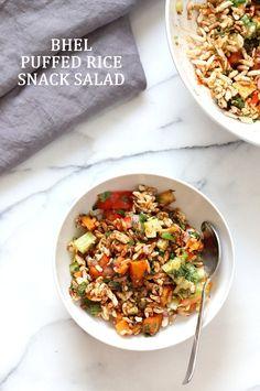 Sweet Potato Bhel Recipe - Indian Snack Salad with Puffed Rice, Mint and Tamarind Chutney - Vegan Richa Vegan Indian Recipes, Vegetarian Recipes, Healthy Recipes, Ethnic Recipes, Snack Recipes, Dinner Recipes, Bhel Puri Recipe, Tamarind Chutney, Rice Snacks