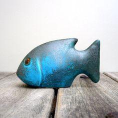 Ceramic Fish Sculpture Turquoise Fish by jorgemealha
