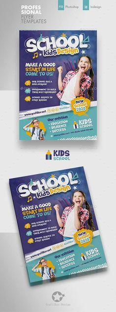 Buy Kids School Flyer Templates by grafilker on GraphicRiver. Kids School Flyer Templates Fully layered INDD Fully layered PSD 300 Dpi, CMYK IDML format open Indesign or later. Template Flyer, Business Flyer Templates, Templates Printable Free, Print Templates, School Template, Printable Party, Free Printables, Flyer Design Inspiration, Blond Amsterdam