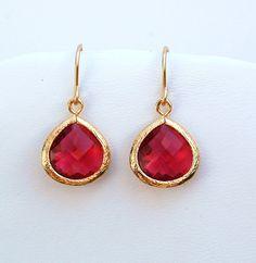 EverdayRuby Drop Earrings, Bridal Gift, Wedding, Mom, Sister, Bridesmaid Gift, Anniversary, Birthday, Gift, Fall Fashion