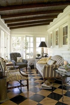 Traditional Porch with Janelle Tufted Chair, Furniture of America Jentrax Accent Chair, exterior tile floors, Screened porch