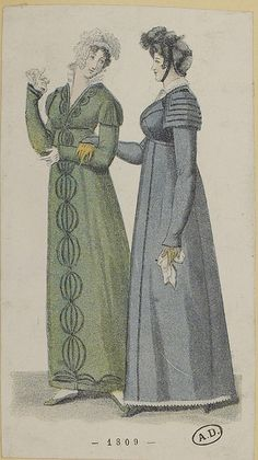 Blue and green pelisses. Costume parisien, 1808