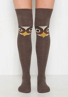 I'm Talon You Thigh Highs - Brown, Yellow, Print with Animals, Print, Casual, Critters, Fall, Winter, Better, Over the Knee (OTK), Cotton, Knit