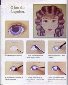 Dibujos y Plantillas para imprimir: Plantilla Como pintar ojos de muñecas 04