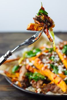 Baked Mexican Street Fries by theblondechef #Fries #Sweet_Potatoes #Cotija_Cheese #Skirt_Steak #Brussel_Sprouts #Cumin #Chili #Paprika #Sriracha
