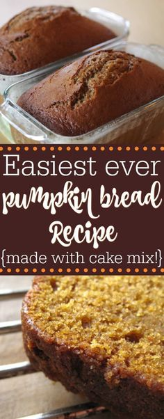 Easy pumpkin bread recipe made with cake mix. This moist cake mix pumpkin bread … Easy pumpkin bread recipe made with cake mix. This moist cake mix pumpkin bread is the best homemade fall brunch, breakfast or dessert for families! How To Make Bread, Food To Make, Pumpkin Chocolate Chip Bread, Easy Pumpkin Bread, Pumpkin Bread Recipes, Easy Pumpkin Desserts, Pumpkin Loaf, Fall Desserts, Easy Fall Deserts