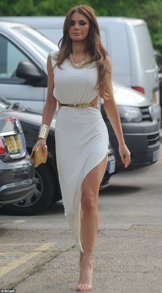 Grecian: Chloe Sims also wore white to Club 195 but accessorised with gold jewellery, bag, belt and shoes Backless Maxi Dresses, Sexy Dresses, Evening Dresses, Bodycon Dress, Chloe Sims, Skirts For Kids, Celebrity Look, Wearing Black, Spring