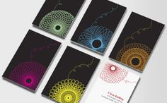 Spirograph business cards. Neon on Black works nice. Love the loose thread!