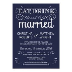 Rustic Typography Navy Blue Wedding Invitations