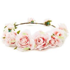 Forever 21 Rose Flower Crown Headwrap  Peach (€6,44) ❤ liked on Polyvore featuring accessories, hair accessories, flower crown, hair, embellished headband, headband hair accessories, forever 21, flower garland headband and decorated garland