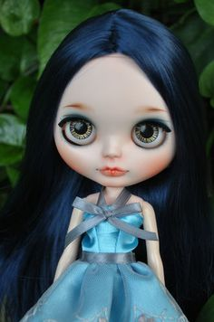 Custom Blythe Doll Navy Blue Hair | eBay