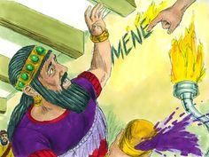God writes on the wall His judgement of King Belshazzar. (Daniel 5:1-31): Slide 5