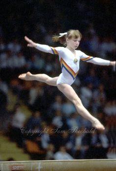 Daniela Silivas of Romania performs on balance beam at 1985 European Championships in women's artistic gymnastics at Helsinki, Finland in la...