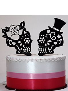 Hey, I found this really awesome Etsy listing at https://www.etsy.com/listing/176032070/day-of-the-dead-skulls-wedding-cake