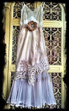 ivory tea stained & bone lace cutwork tulle boho maxi wedding dress by mermaid miss k