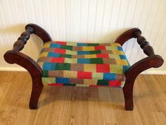 Vintage Retro Footstool Dog Bed Ottoman Stool Cat by modernlogic Footstool to pet bed with funky colorful fabric