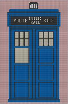Tardis Afghan Pattern with Chart - I wonder if I can do it :) Crochet Tardis, Doctor Who Crochet, Afghan Crochet Patterns, Crochet Chart, Cross Stitch Patterns, Crochet Afghans, Diy Crochet, Crochet Ideas, Knitting Patterns