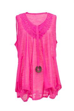 Plus Size Hot Pink Sleeveless Crochet Top