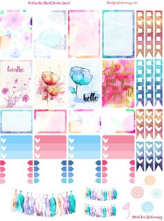 $2.00 Watercolor Floral Happy Planner Sticker Sheet at Mint Fox Stationary