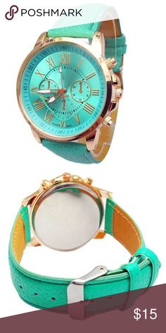 🎁5 for $25🎁 Watch with leatherband Seafoam green watch with large face. Brand new and never worn.  ***Limit 1 watch per bundle special. This applies to all watches in my closet.*** Accessories Watches