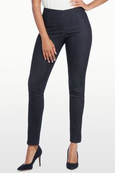 "LIKE FLAT FRONT, HIGH WAISTED to wear with boots.  Need long length. I'm 5'8""  NYDJ POPPY PULL-ON LEGGING IN PREMIUM LIGHTWEIGHT DENIM. LIKE STRAIGHT LEG BEST.  NEED SOME SLIMMER FITTING FOR HIGH BOOTS."