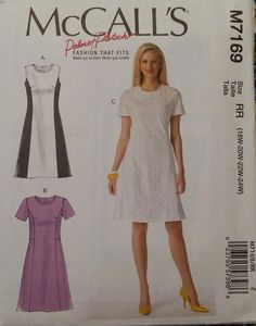 McCalls Pattern M7169 Misses' Dresses sizes 18W to 24W 3 styles NEW Free Ship